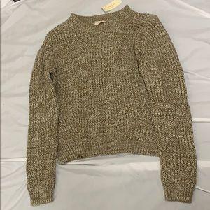 Knit Sweater Tan White